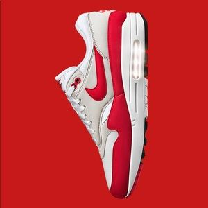 on sale 0eb61 fe0dc Nike Shoes - NIKE Air Max 1 Anniversary White Red Sneakers