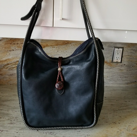 Marco Buggiani Handbags - Marco Buggani navy leather  bag