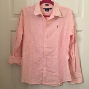 Pink and white slim fit Ralph Lauren oxford