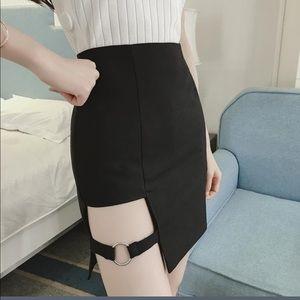 97f0c0fd3a Skirts | Nwt Black Cut Out Slit Buckle Mini Skirt Small | Poshmark