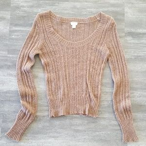 Chocolate Cropped Outfitters Sweater Long Sleeve