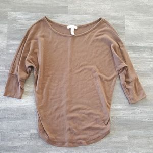 Chocolate Off Shoulder Sweater 3/4 Sleeve