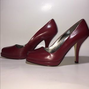 Marc Fisher red peep toe heels