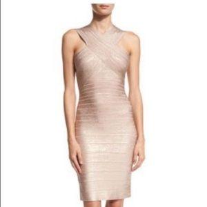 Herve Leger xsmall rose gold bandage dress