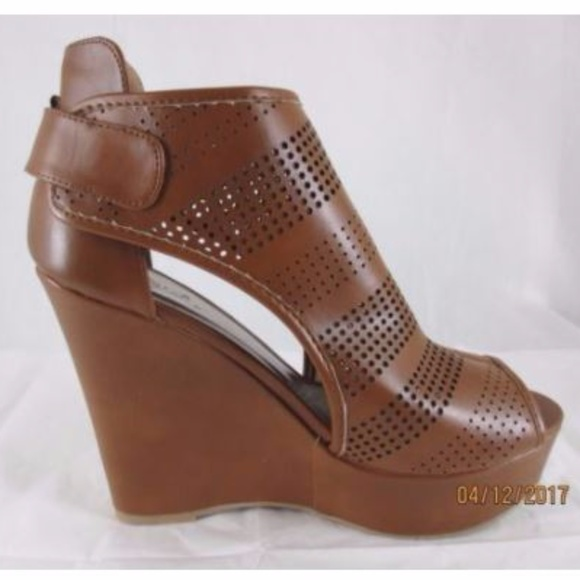 e7a50e9fa5d New Qupid Platform Wedges Chestnut Brown 7