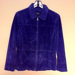 Royal Blue Suede Zip Up Jacket