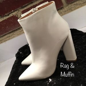 Shoes - White Patent Leather Ankle Boots