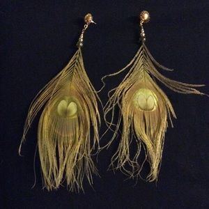 Peacock feather earrings dyed gold & pheasant pair