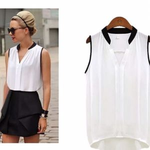 Tops - White with Black Trim Tank Top NWOT