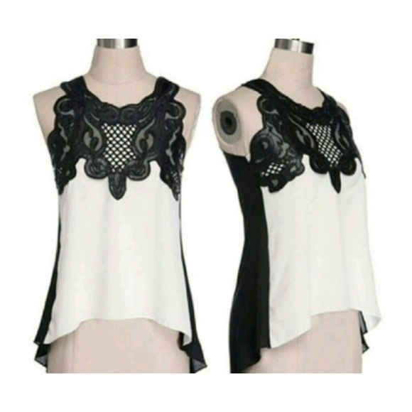 Tops - Cream w/ Black Lace Sleeveless Chiffon Top NWOT