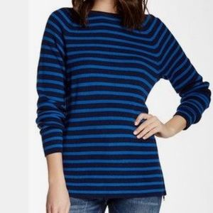 Equipment Blue Striped Wool Blend Sweater Small