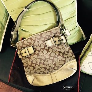 Gold signature coach bag