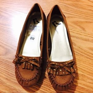 Brown flats faux suede size 9W