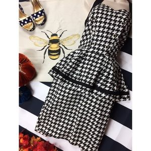 Vintage 80s Houndstooth Halter Peplum Dress SM