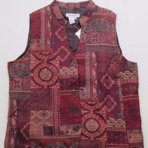 Coldwater Creek Red Tapestry Vest Patchwork Lined
