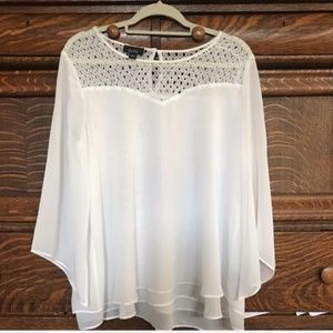 White Cape Sleeve Tiered Blouse