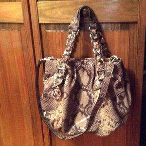 Michael Kors python print handbag.