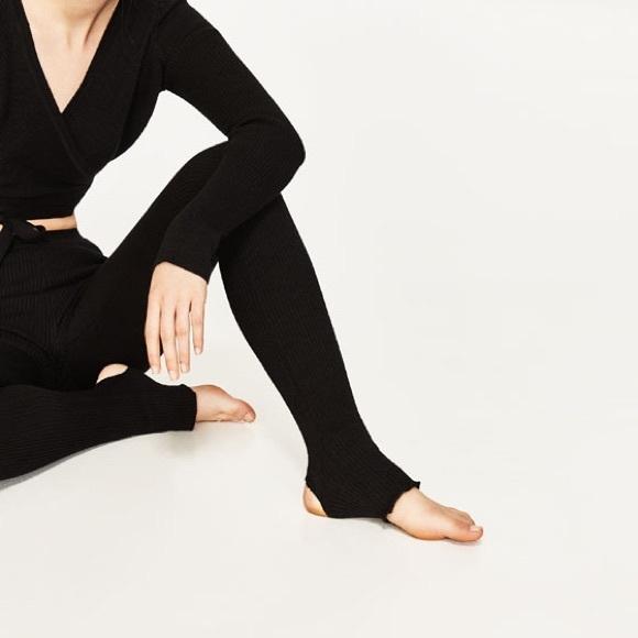 8111848bdc43d7 Zara Pants | Black Leggings With Ballerina Foot Straps | Poshmark