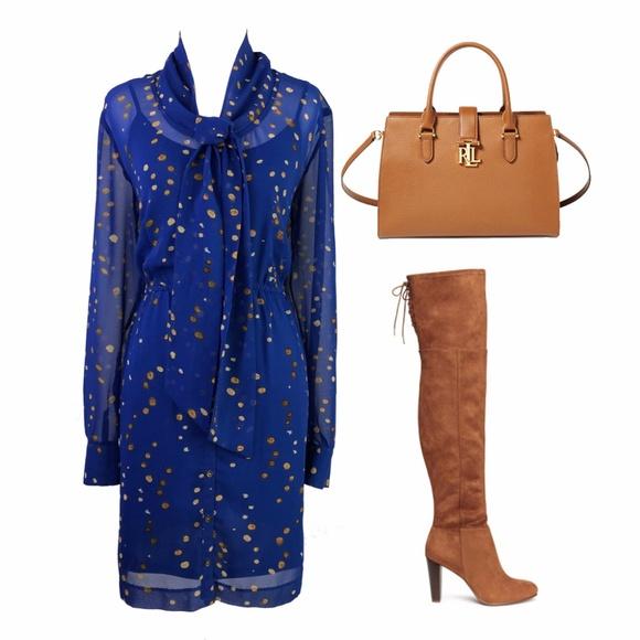 Kensie Dresses & Skirts - Kensie Royal Blue Long Sleeve Gold Polka Dot Dress
