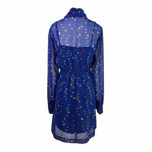 Kensie Dresses - Kensie Royal Blue Long Sleeve Gold Polka Dot Dress