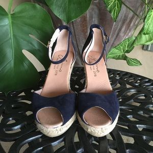 Navy suede espadrilles wedge open toe sandals