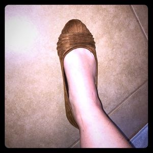 Brown faux suede flats