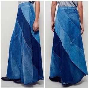 Free People Patchwork Maxi Denim Skirt Long NWOT