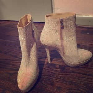 Modern Vice Sequins Creme Leather Booties