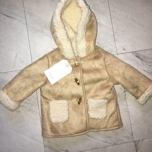 Zara Mini Sherling Hooded Coat