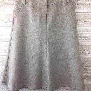 J CREW Skirt 8 Wool Gray A-Line Flare Circle Skate