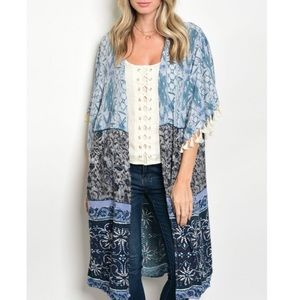 Beach Bohemian Kimono Duster Cardigan