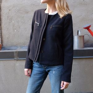 GAP Black Shell Cropped Tailored Jacket