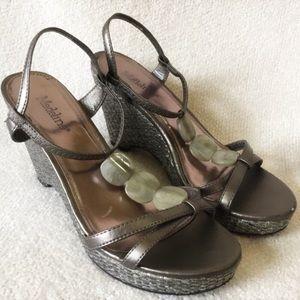 Metallic Gray Strappy Wedge Sandals