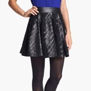 NWT Rebecca Taylor Leather Design Pleated Skirt
