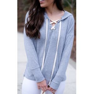 Cozy Lace Up Sweatshirt