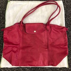 Longchamp Le Pilage Leather Tote Bag.