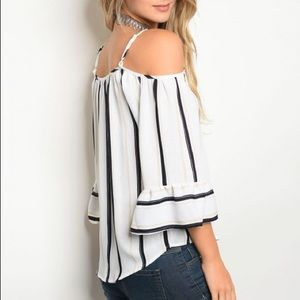 Nautical Striped Cold Shoulder Blouse