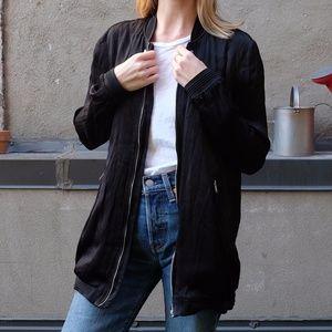 Zara Oversized Silky Black Bomber Jacket