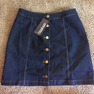Dark denim button up skirt