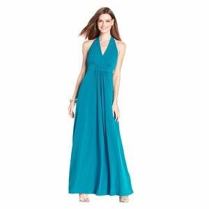 New JESSICA SIMPSON Gray Halter Maxi Dress NWT