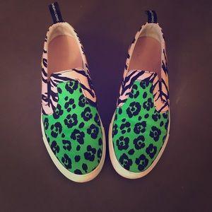 Moschino Mixed Animal-print Slip-on Sneakers