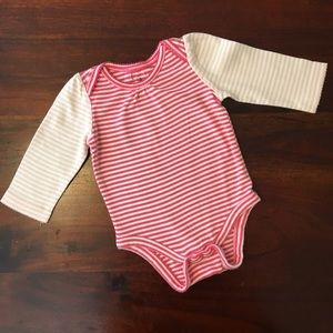 BabyGap long sleeve pink/white stripped onesie