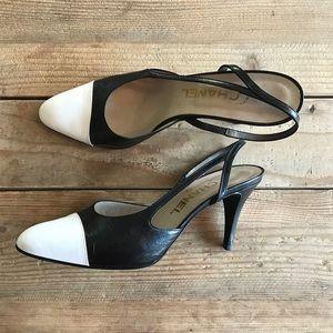 CHANEL Shoes - Vintage Chanel Slingbacks Cap Toe