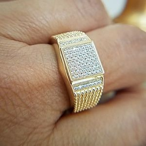 14k Gold plated men's Wedding Band Ring