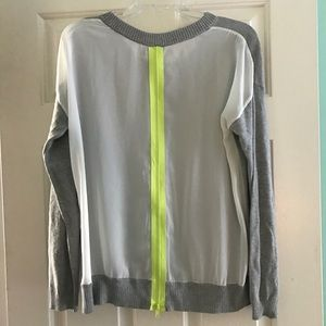Central Park West Sweater in Grey with Neon Zipper