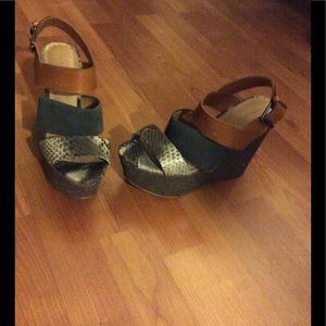 Zara suede and faux python wedge