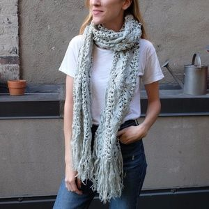Vintage Thick Knit Sparkle Mint Long Fringed Scarf