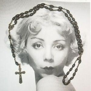 Vintage Ebony Wood Fatima Rosary