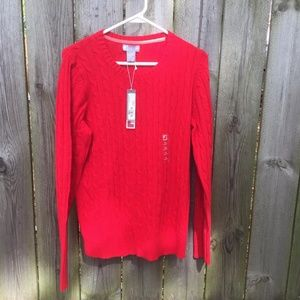 JCPenney Merino Blend Cable Knit Sweater Red XL