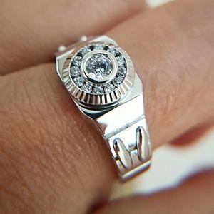 14k white Gold plated men's Wedding Band Ring
